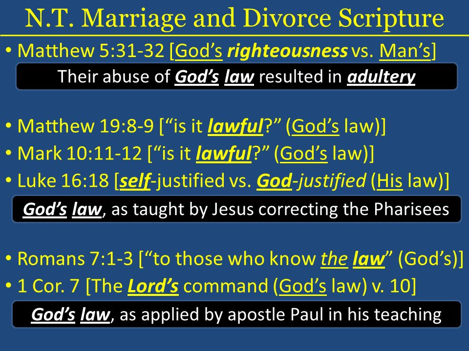 N.T. Marriage and Divorce Scripture