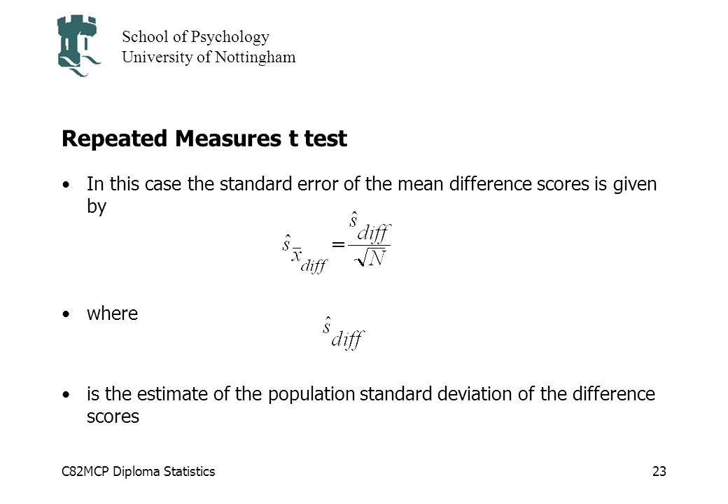 Overview of lecture parametric analysis is used for ppt download 23 repeated measures t test ccuart Choice Image