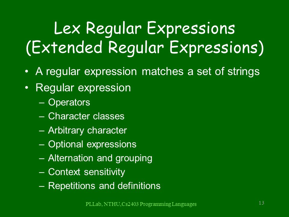 Lex Regular Expressions (Extended Regular Expressions)