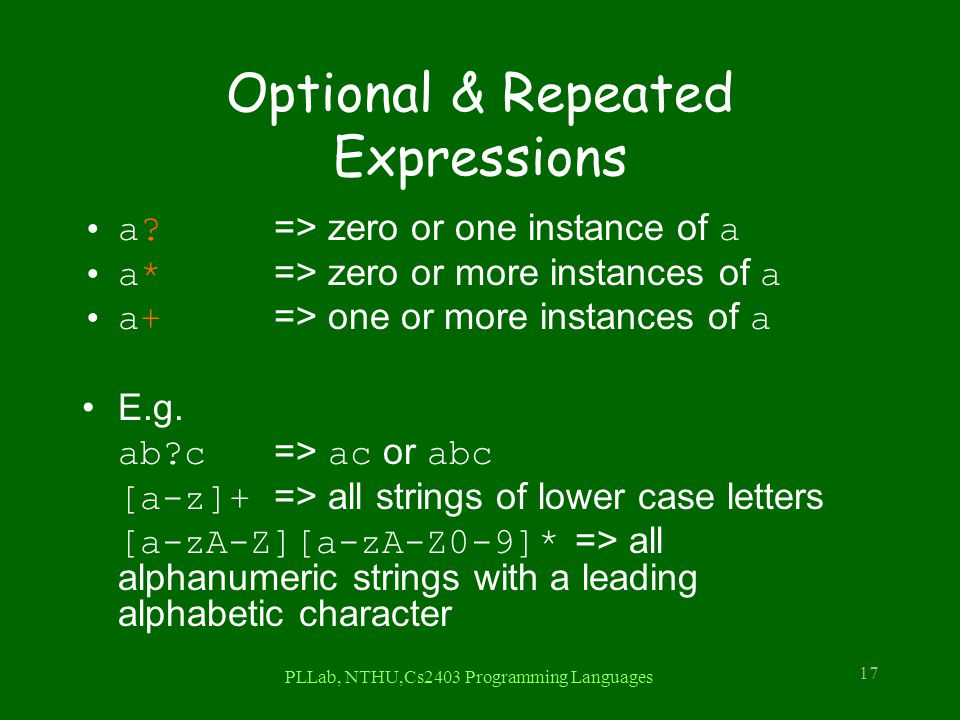 Optional & Repeated Expressions