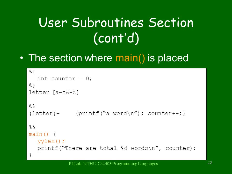 User Subroutines Section (cont'd)