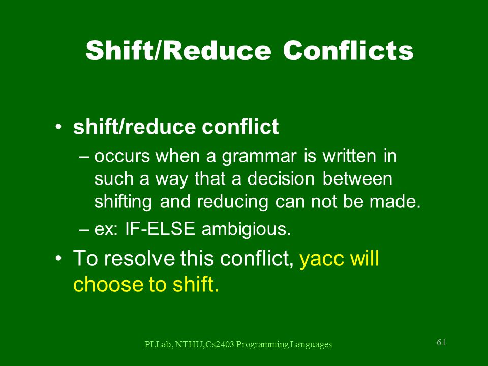 Shift/Reduce Conflicts