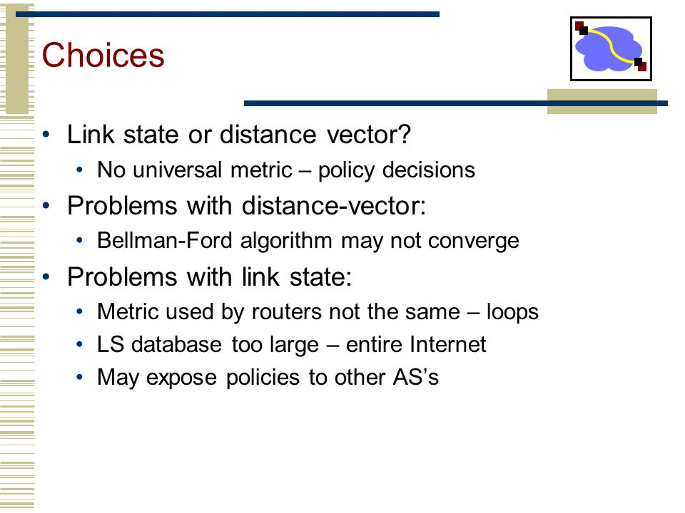 Choices Link state or distance vector Problems with distance-vector: