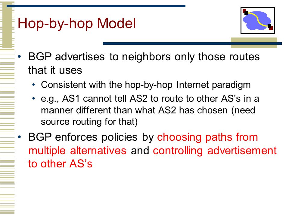 Hop-by-hop Model BGP advertises to neighbors only those routes that it uses. Consistent with the hop-by-hop Internet paradigm.