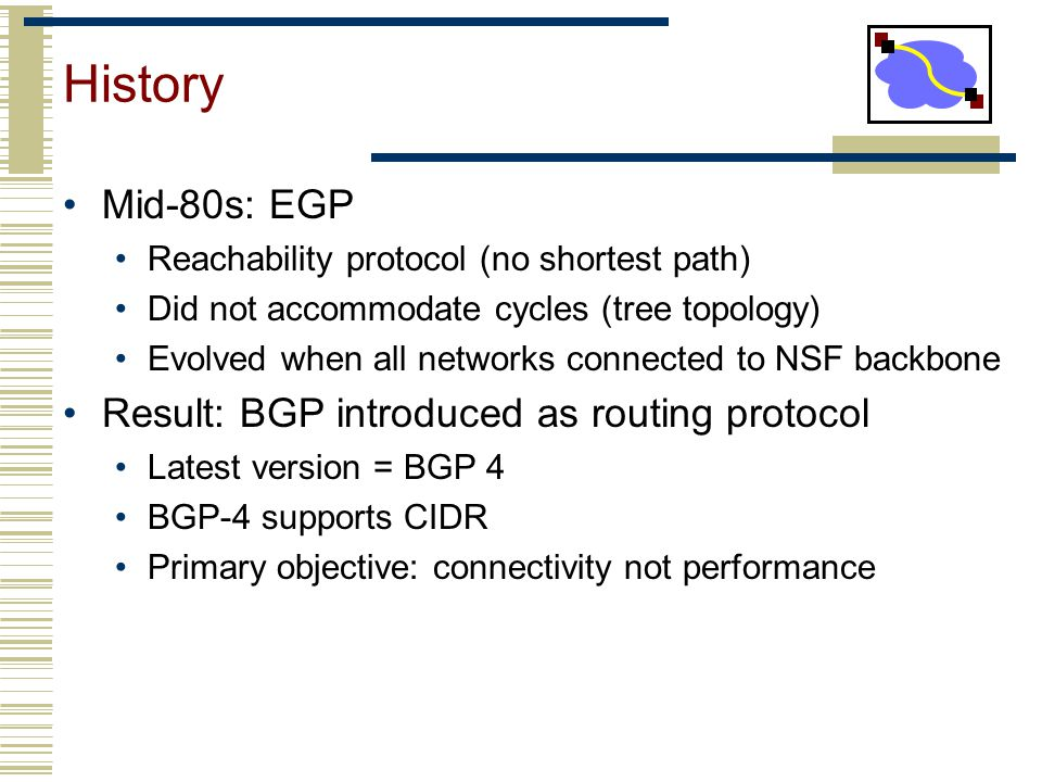 History Mid-80s: EGP Result: BGP introduced as routing protocol
