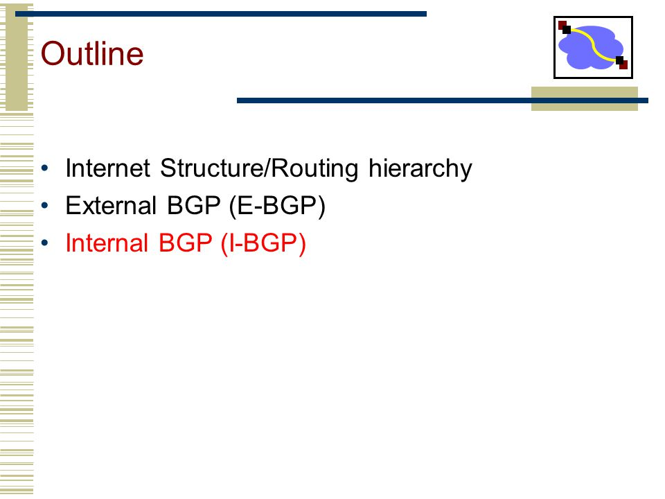 Outline Internet Structure/Routing hierarchy External BGP (E-BGP)