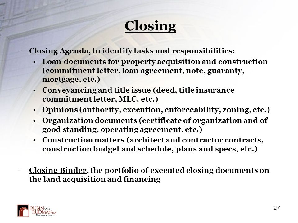 Property Acquisition Process Due Diligence And Closing Issues