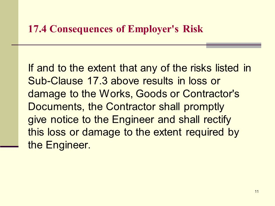 17.4 Consequences of Employer s Risk