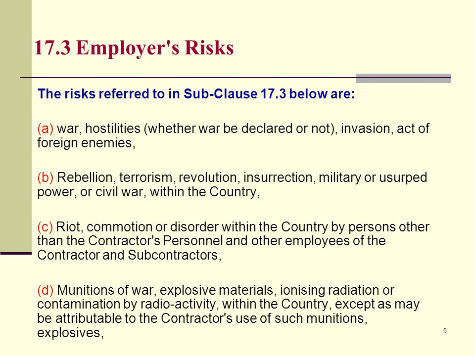 17.3 Employer s Risks The risks referred to in Sub-Clause 17.3 below are:
