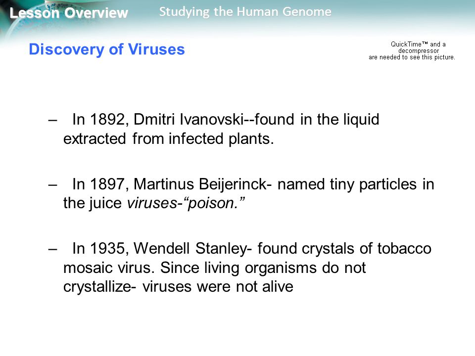 Discovery of Viruses In 1892, Dmitri Ivanovski--found in the liquid extracted from infected plants.