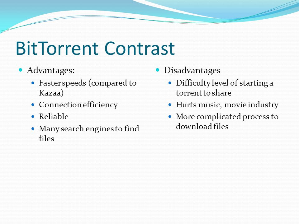 BitTorrent Contrast Advantages: Disadvantages