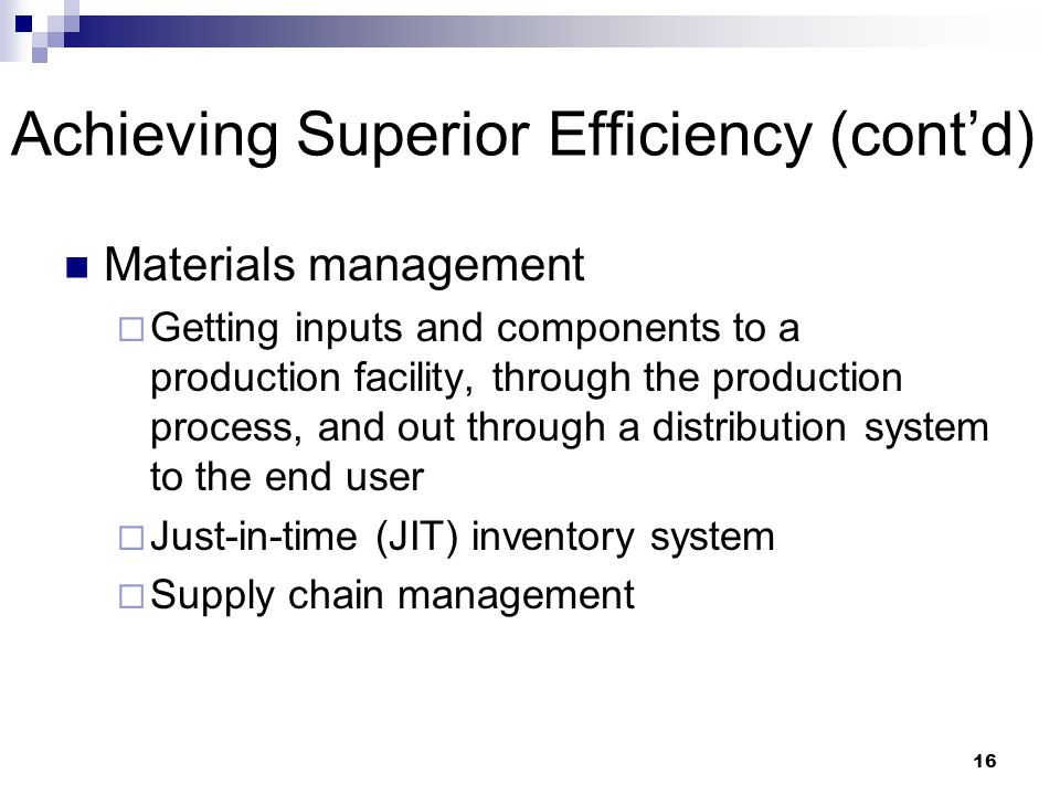 Achieving Superior Efficiency (cont'd)