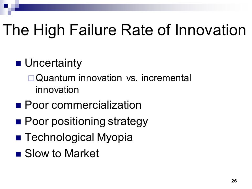 The High Failure Rate of Innovation