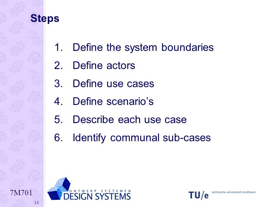Steps Define the system boundaries. Define actors. Define use cases. Define scenario's. Describe each use case.