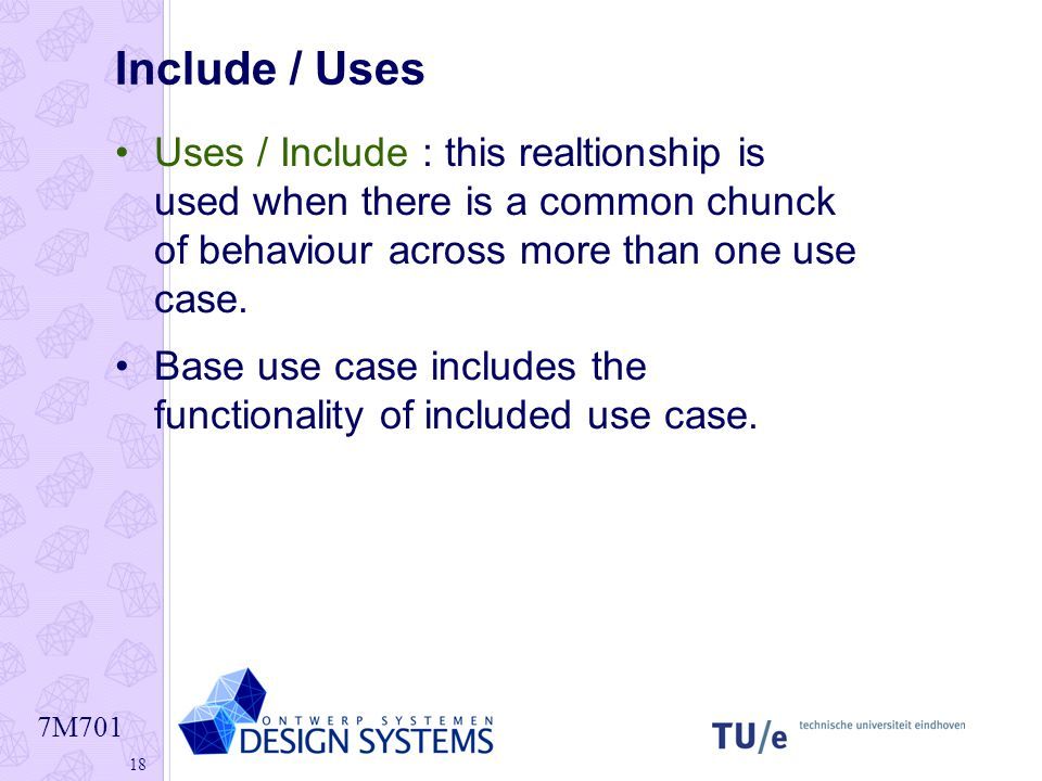 Include / Uses Uses / Include : this realtionship is used when there is a common chunck of behaviour across more than one use case.