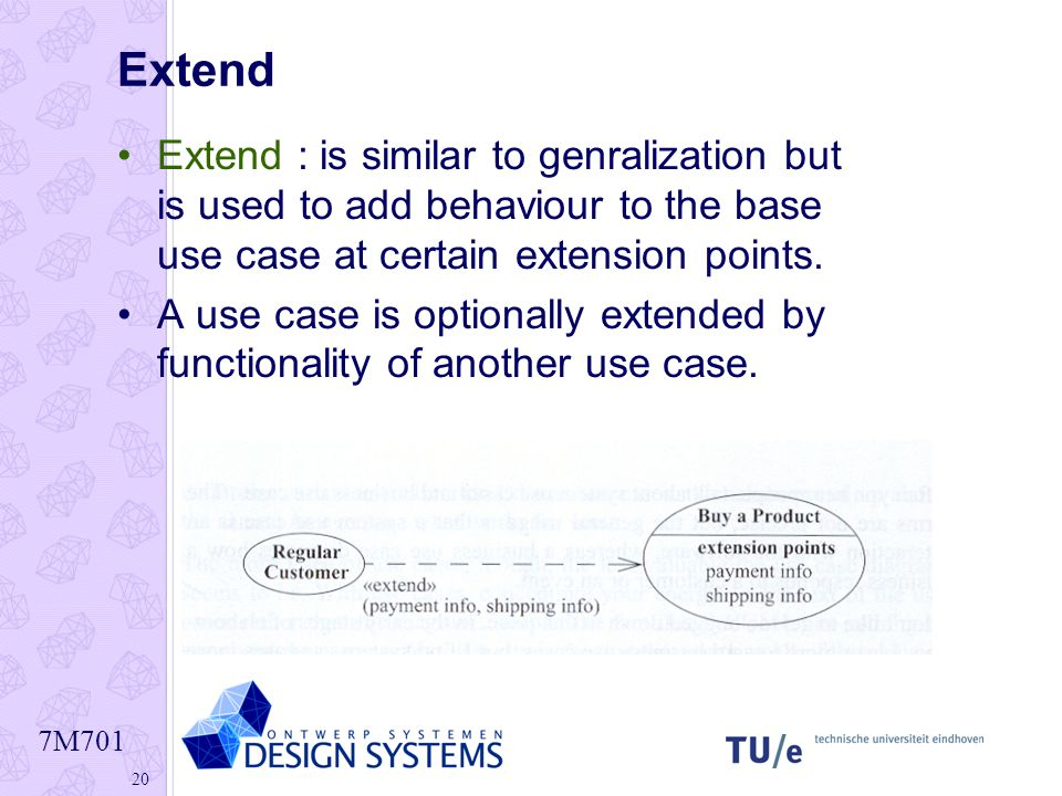 Extend Extend : is similar to genralization but is used to add behaviour to the base use case at certain extension points.