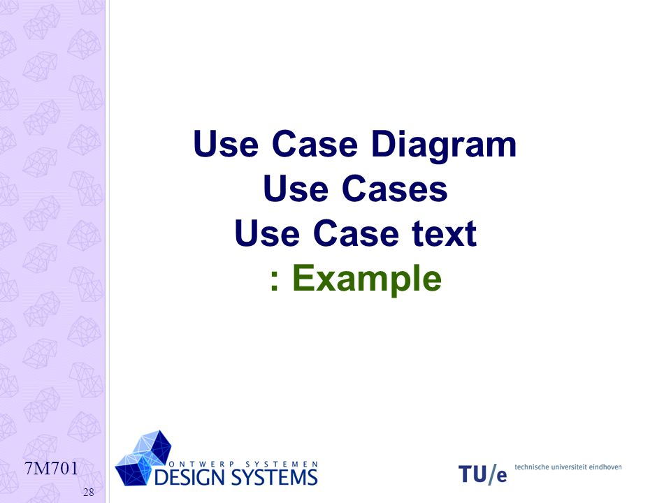 Use Case Diagram Use Cases Use Case text : Example