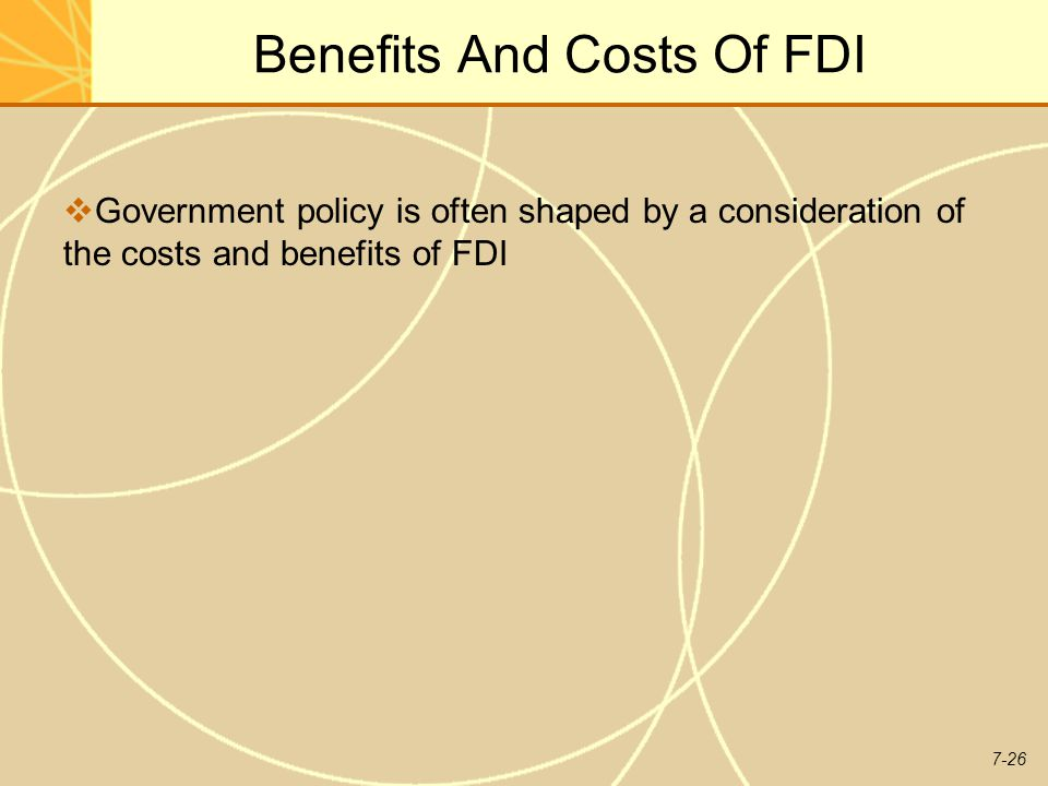 Benefits and costs of foreign direct Investment