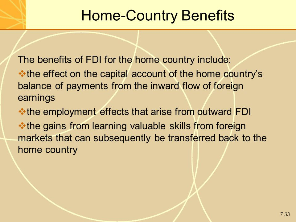 host country effects of foreign direct Foreign direct investment (fdi) has benefits for the host country as well as for the country that is investing first, we study the benefits accruing to host country due to fdi: resource-transfer effects.