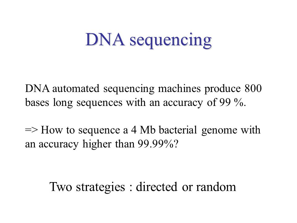 strategies of gene sequencing The ultimate objective of a genome project is the complete dna sequence for the organism being studied, ideally integrated with the genetic and/or physical maps of the genome so that genes and other interesting features can be located within the dna sequence this chapter describes the techniques and research strategies that are used during the sequencing phase of a genome project, when this ultimate objective is being directly addressed.