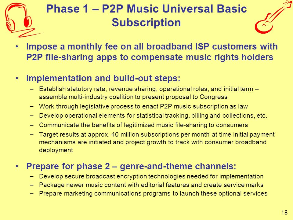 Phase 1 – P2P Music Universal Basic Subscription