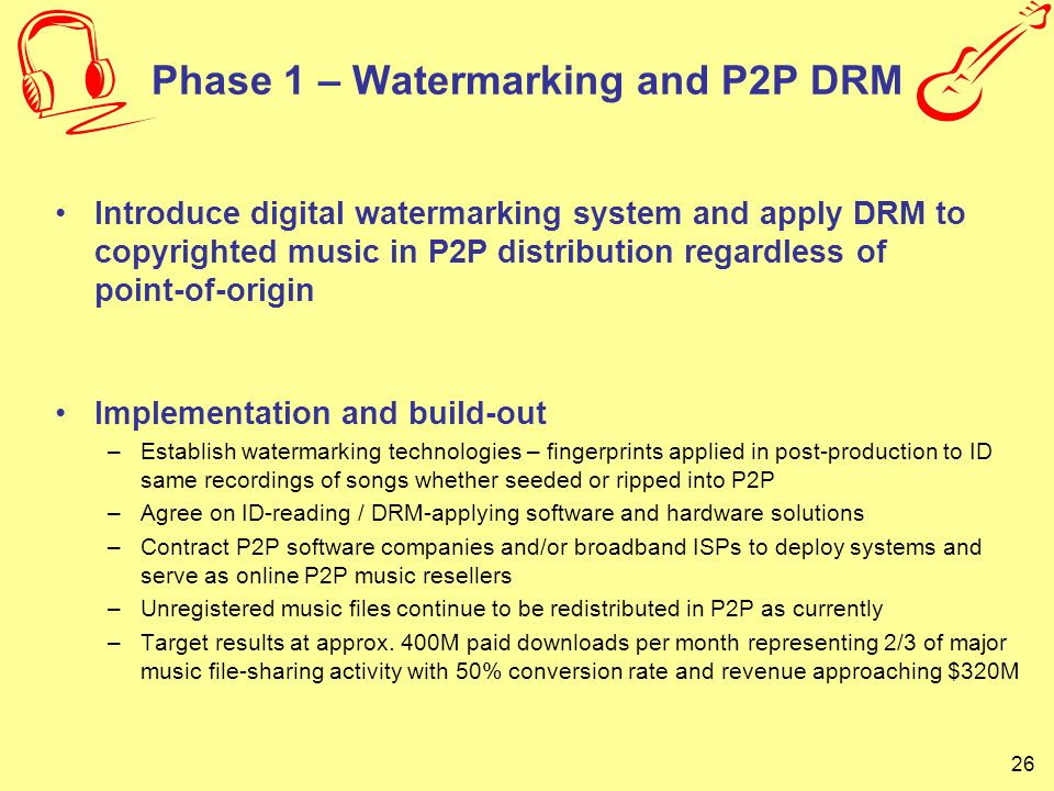 Phase 1 – Watermarking and P2P DRM