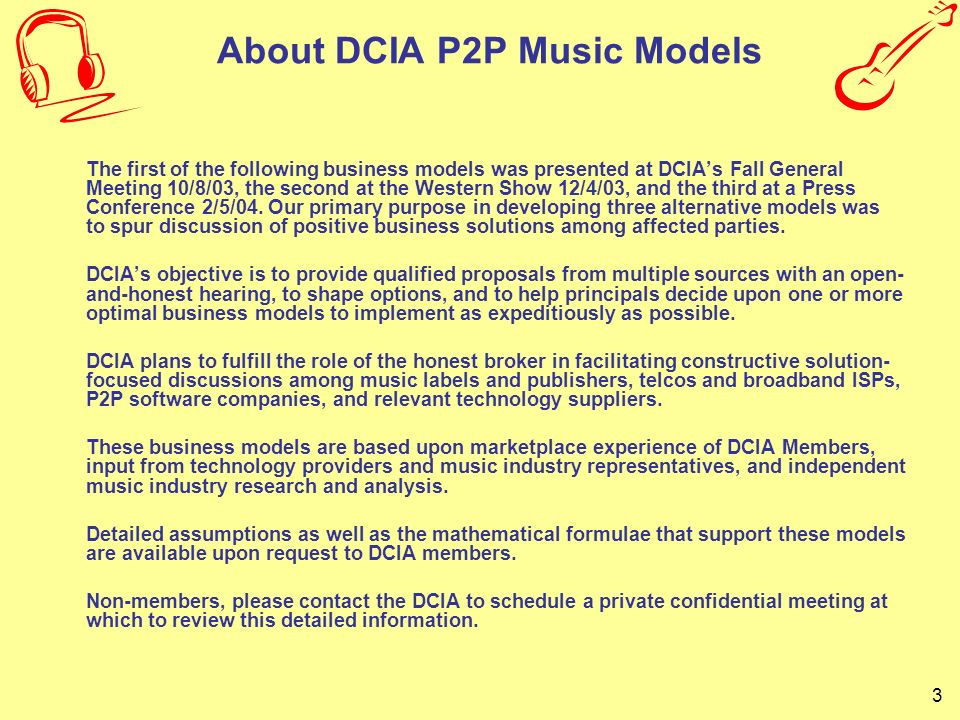 About DCIA P2P Music Models