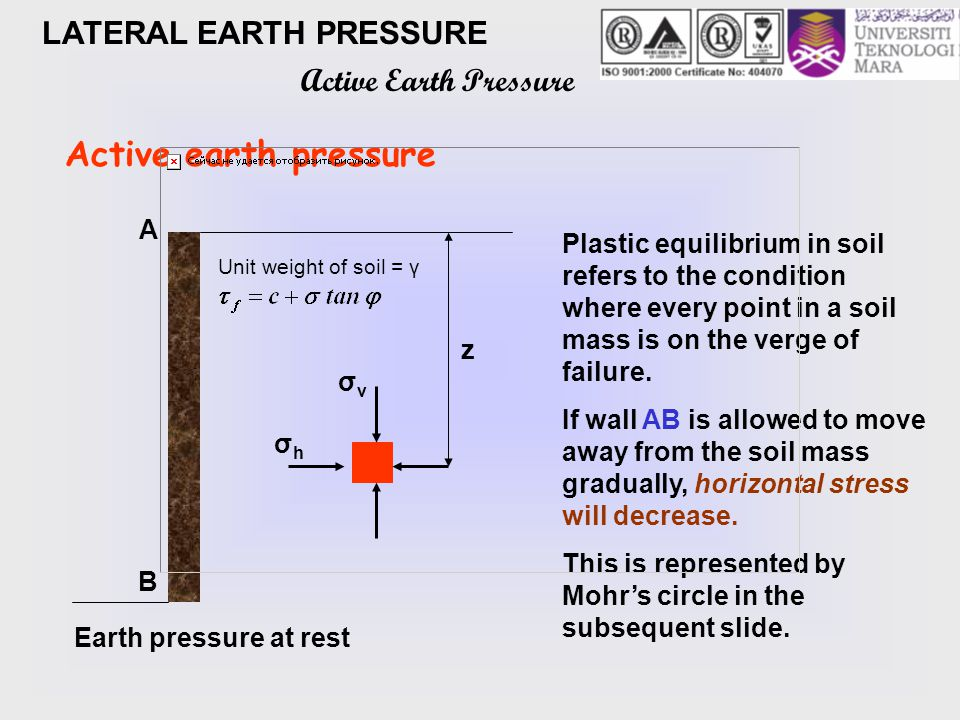 verge failure in plastic equilibrium