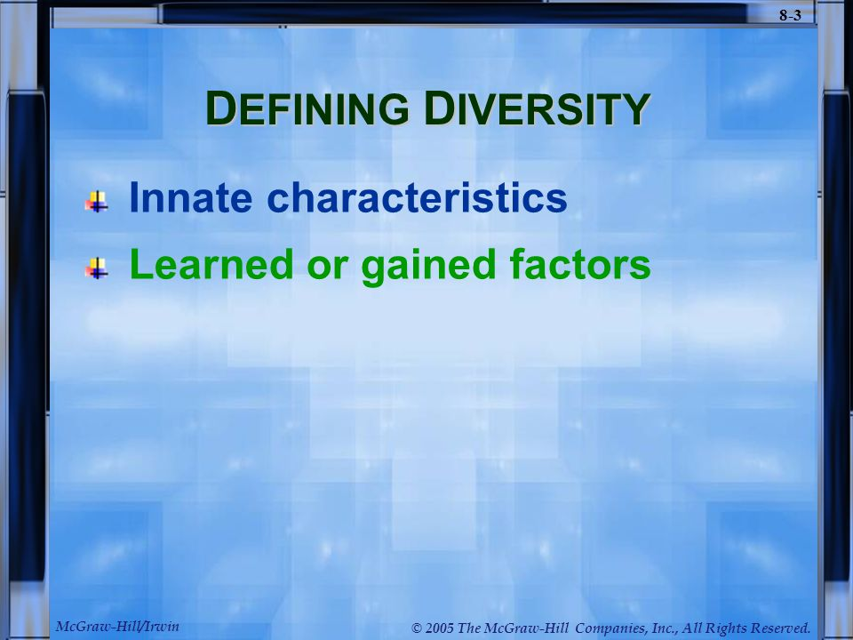 the impact of diversity characteristics on Abstracteach individual's personality is like a puzzle whose elaborate pieces are characteristics that are placed together to form a distinctive image some characteristics are hereditary such as gender, ethnicity, and the way a person looks other cha.