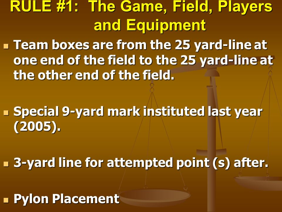 RULE #1: The Game, Field, Players and Equipment