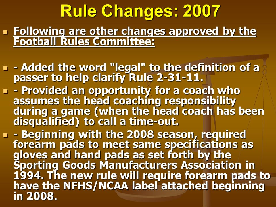 Rule Changes: 2007 Following are other changes approved by the Football Rules Committee: