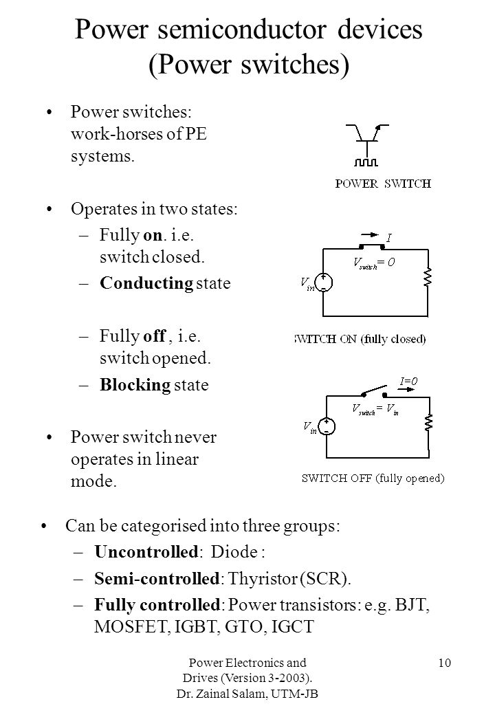 Power semiconductor devices (Power switches)