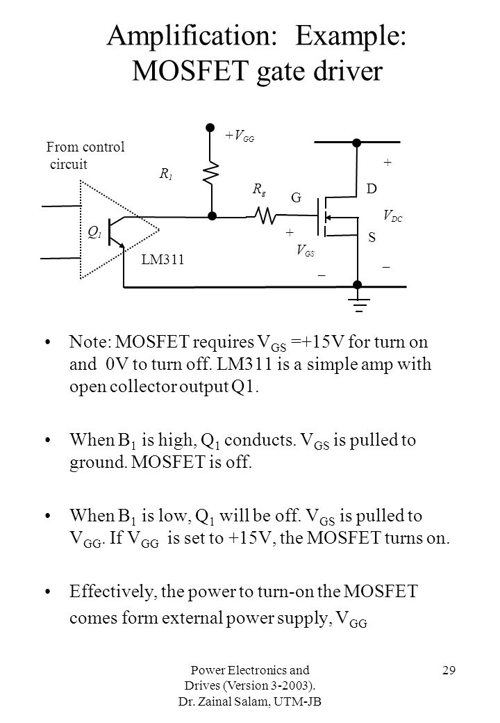 Amplification: Example: MOSFET gate driver