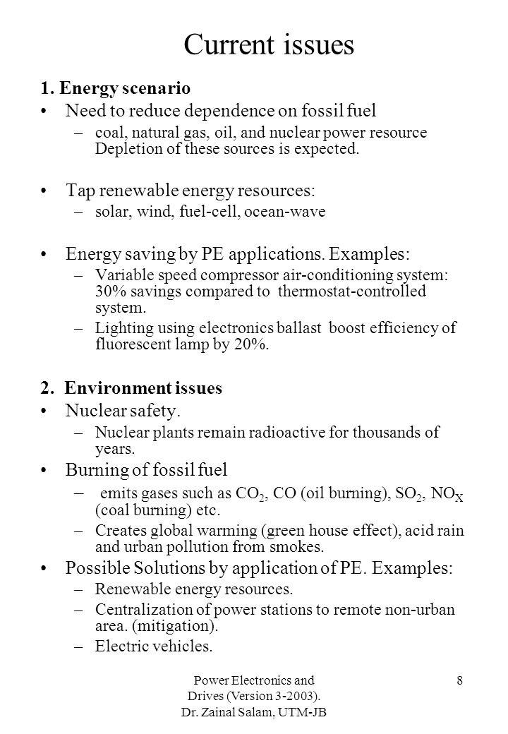 Current issues 1. Energy scenario