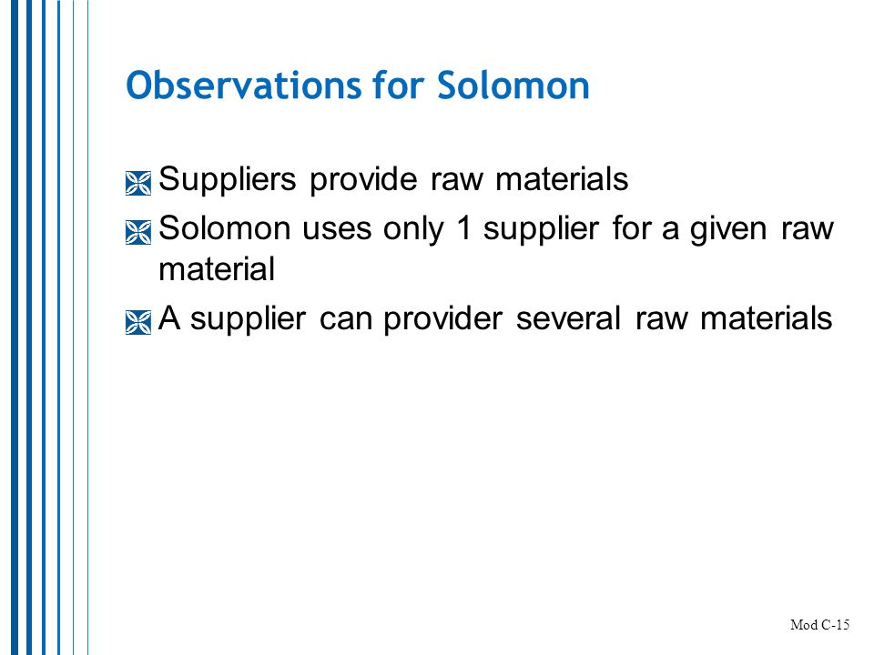 Observations for Solomon