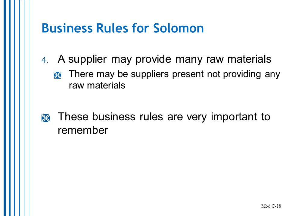 Business Rules for Solomon