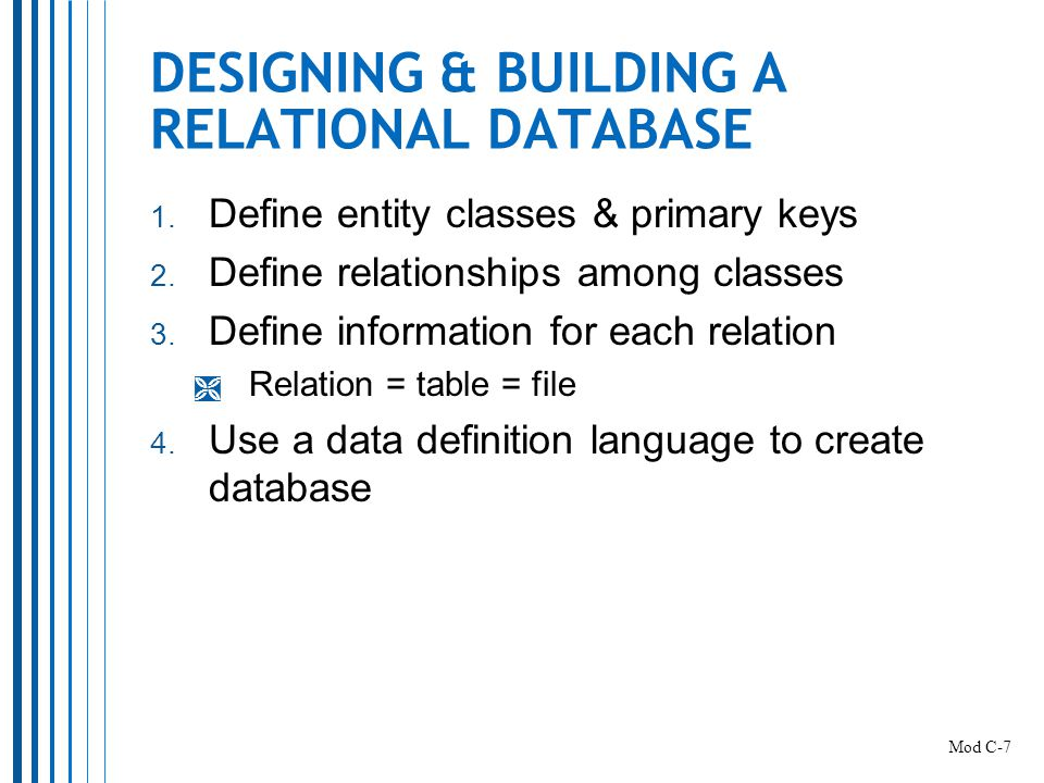 DESIGNING & BUILDING A RELATIONAL DATABASE