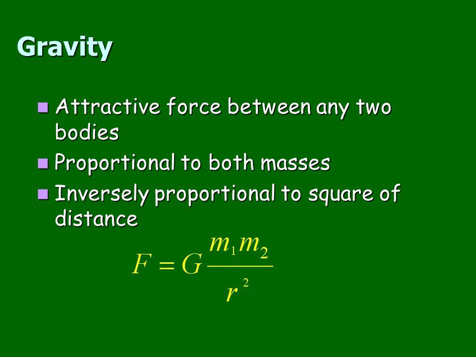 Gravity Attractive force between any two bodies