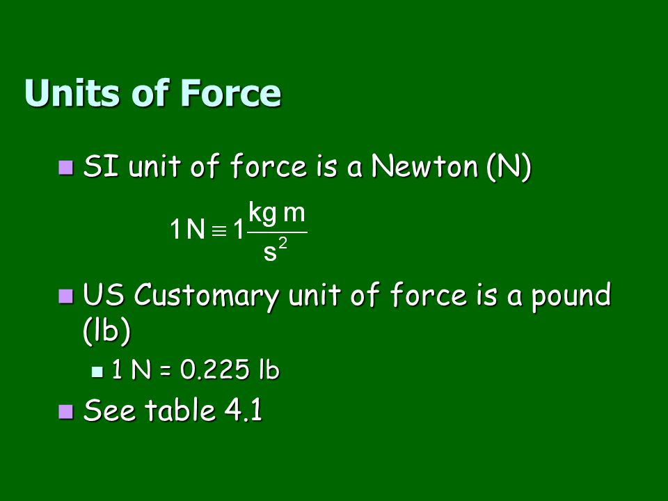 Units of Force SI unit of force is a Newton (N)