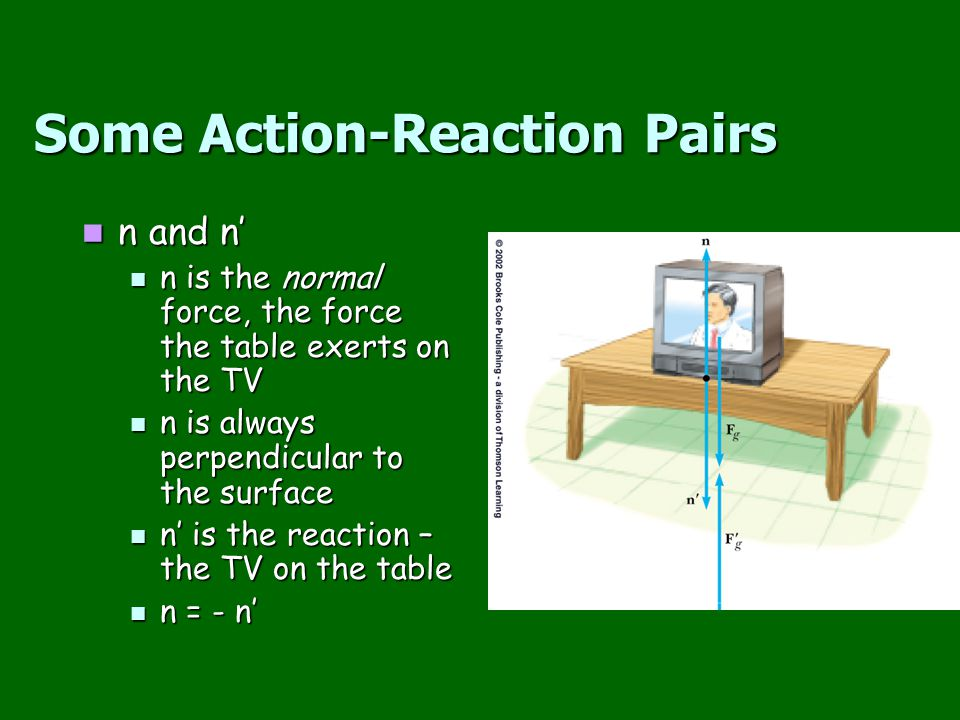 Some Action-Reaction Pairs