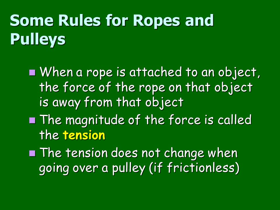 Some Rules for Ropes and Pulleys