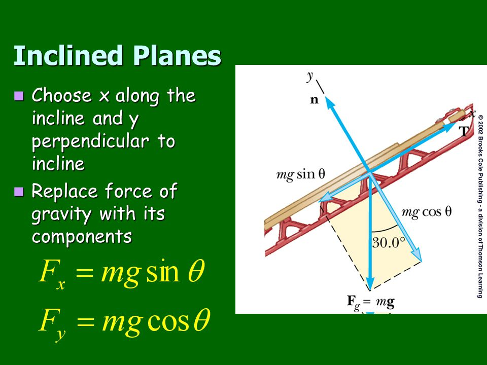 Inclined Planes Choose x along the incline and y perpendicular to incline.