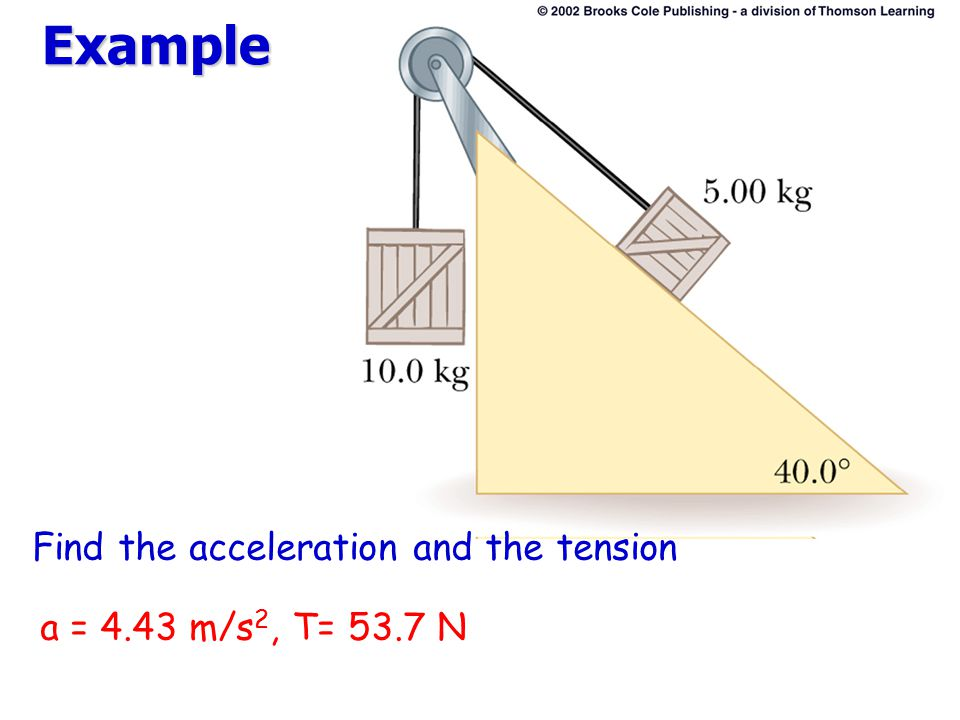 Example Find the acceleration and the tension a = 4.43 m/s2, T= 53.7 N