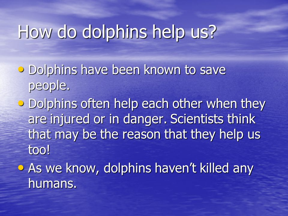 How do dolphins help us Dolphins have been known to save people.