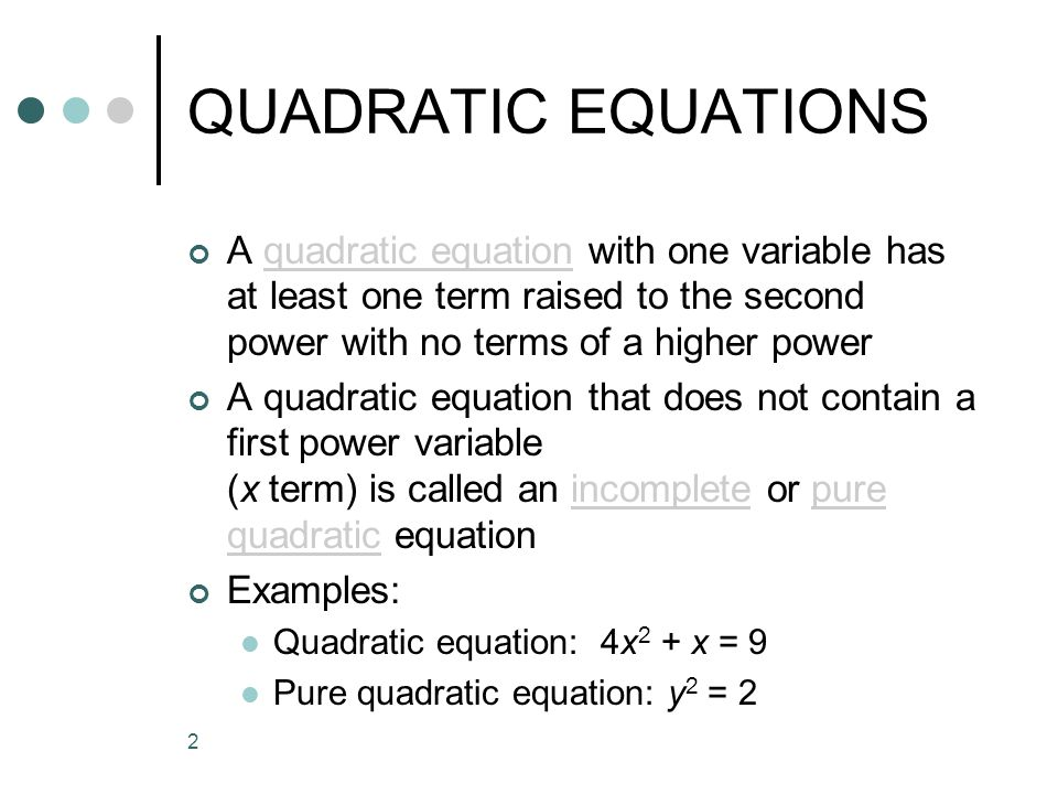 Unit 18 QUADRATIC EQUATIONS. - ppt video online download