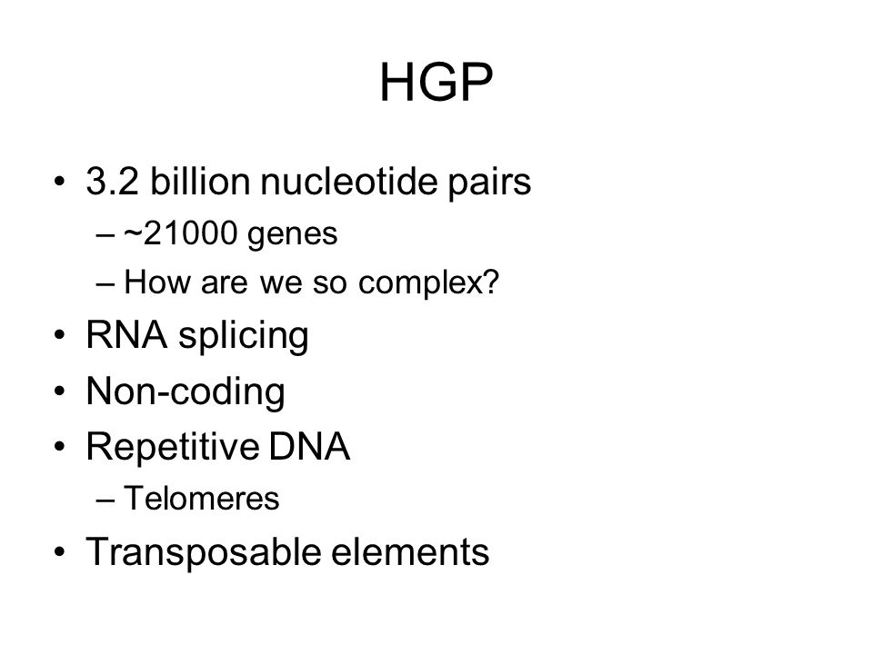 HGP 3.2 billion nucleotide pairs RNA splicing Non-coding