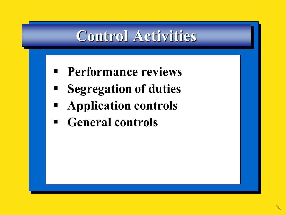 Control Activities Performance reviews Segregation of duties