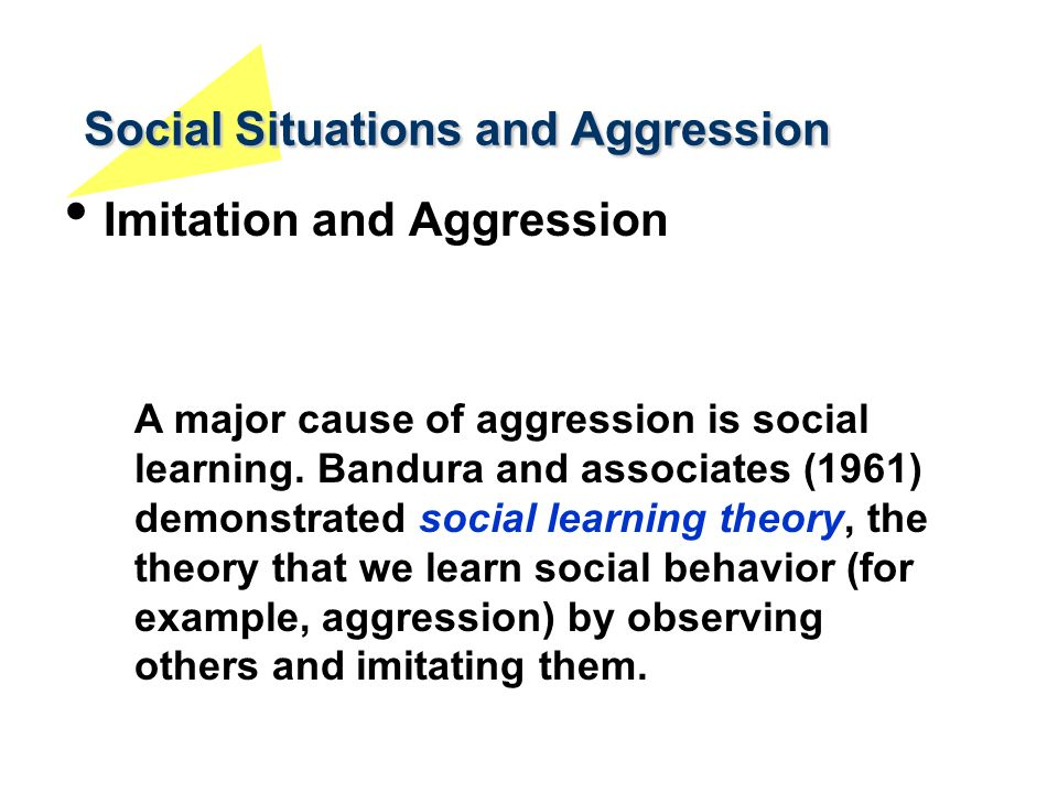 social learning theory and aggression Strengths and weaknesses of the social learning theory the theory was created by albert bandura, he argued that people could learn new behavior's and information from watching others (also.