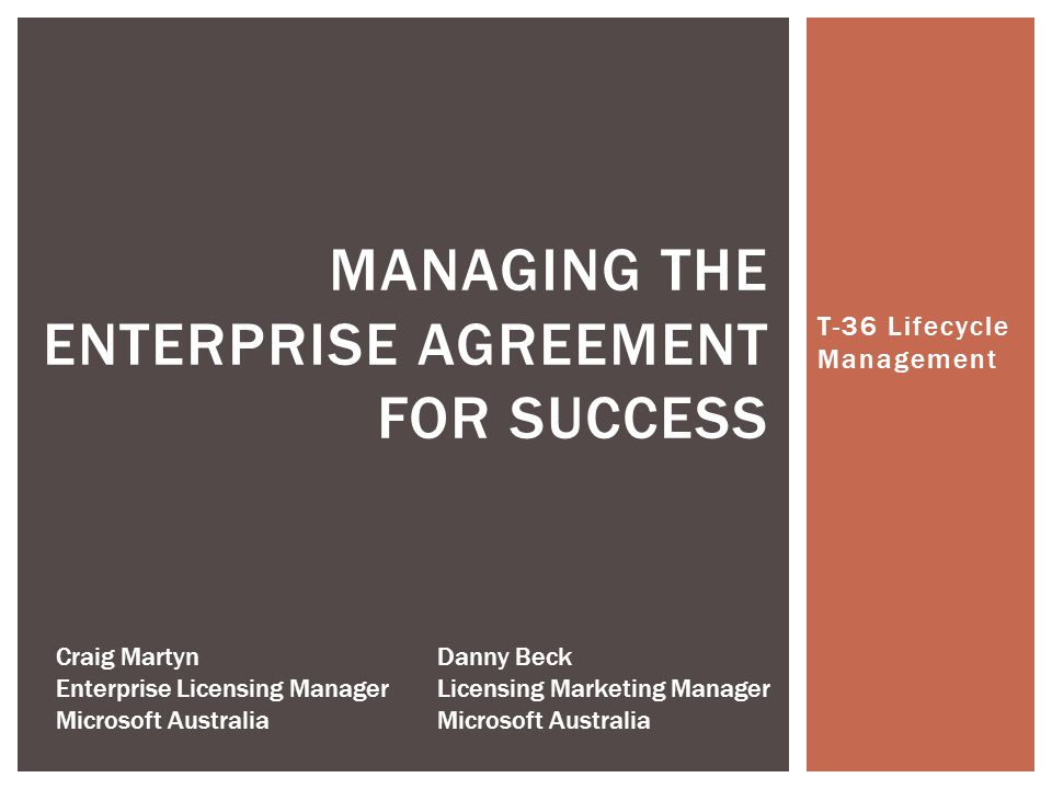 Managing The Enterprise Agreement For Success Ppt Video Online