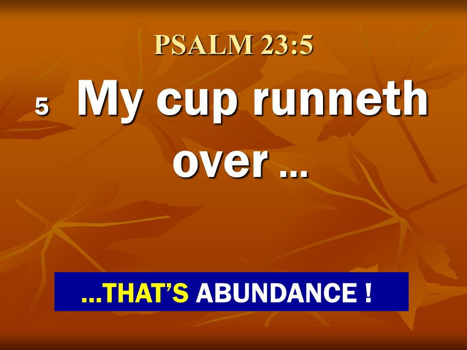 PSALM 23:5 5 My cup runneth over … ...THAT'S ABUNDANCE !